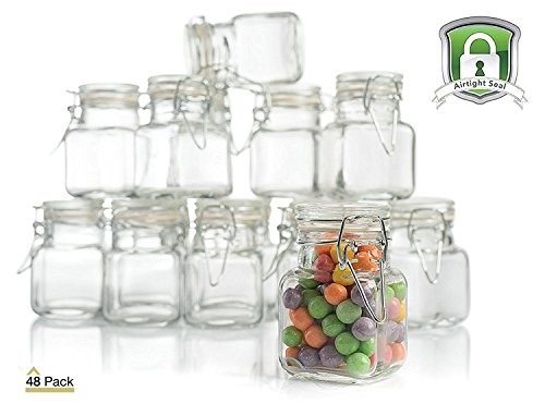 Stock Your Home 3 Oz Airtight Glass Jar with Leak Proof Rubber Gasket and Hinged Lid for Home and Kitchen, Multi-Purpose Container for Herbs, Spices, Arts and Crafts Storage and Gift Holder, 48 Pack