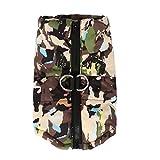 POPETPOP wasserdichter Hundemantel warme Winterweste mit Reißverschluss und D-Ring - Hundejacke im Camouflage-Design für kleine mittlere oder große Hunde - Haustierwinterbekleidung - Größe l