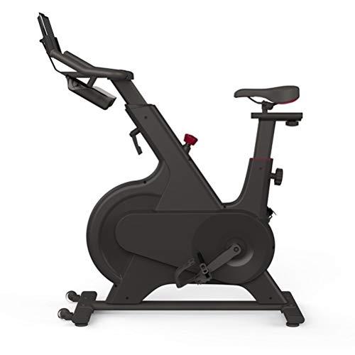Bicicleta estática negra de interior, bicicleta controlada electromagnéticamente con soporte y cojín cómodo, hogar