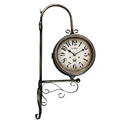 Spinnaker Collection Gray Wrought Iron Vintage-Inspired Train Railway Station Style Round Double Side Two Faced Wall Hanging Clock - 25.5 inches Tall Blackheath IRONWORKS, London