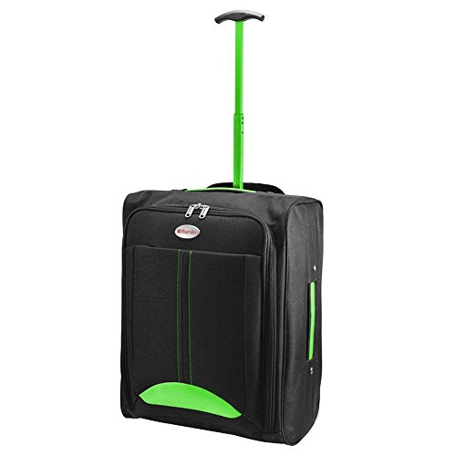 Cabin Travel Bag Wheeled Lightweight Suitcase Hand Luggage Trolley Holdall New FUSION(TM) (Green)