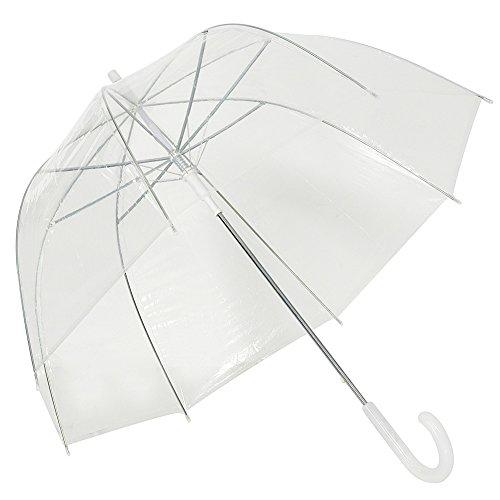 Regenschirm Transparent Hochzeitsschirm Klar Regenschirm Durchsichtiger Kuppel Glockenschirm mit Farbe koordinierte Griff und Automatischemnopf (transparent)