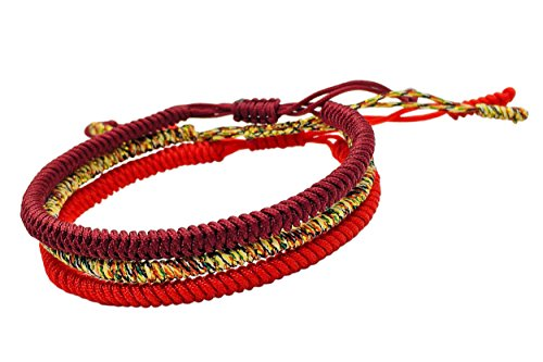 Reclaiming Zen Pulsera Tibetana Cuerda Budista Hecha a Mano Nudo de la Suerte (Conjunto de 3 - Rojo, Rojo Intenso, Multi-Dorado)