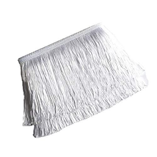 Yalulu 10 metros de largo y 10 cm de ancho, borla sedosa, flecos cortados para disfraces, accesorio de costura (blanco)