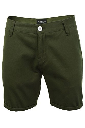 Herren-Brave Soul Smith-Chino-Shorts, Knie-Länge, aus Baumwolle Gr. M, Smith - Khaki