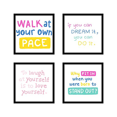Webelkart Premium Motivational/Inspirational Quote Synthetic Photo Frame for Wall, Office, Study Room Decoration Poster Framed with Plexi Glass, Size - 10 x 10 Inch, Multicolour | Set of 4