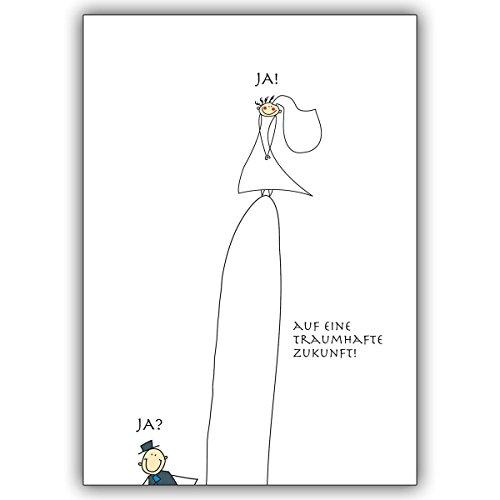 1 Hochzeitskarte: Lustige Hochzeitskarte mit Brautpaar Ja? Ja!: Auf eine traumhafte Zukunft! • edle Klappkarte mit Umschlag innen blanko