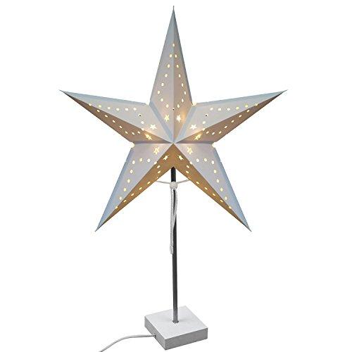 Multistore 2002 Sternlampe mit Ständer, 1x E14, Tischlampe Tischleuchte Faltstern Leuchtstern mit Fuß Weihnachtsstern