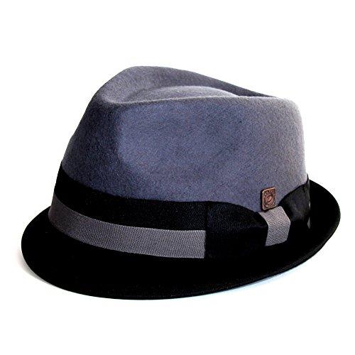 DASMARCA Alastair Gris/Noir Twotone Avare Brim Feutre Chapeau Mou - L