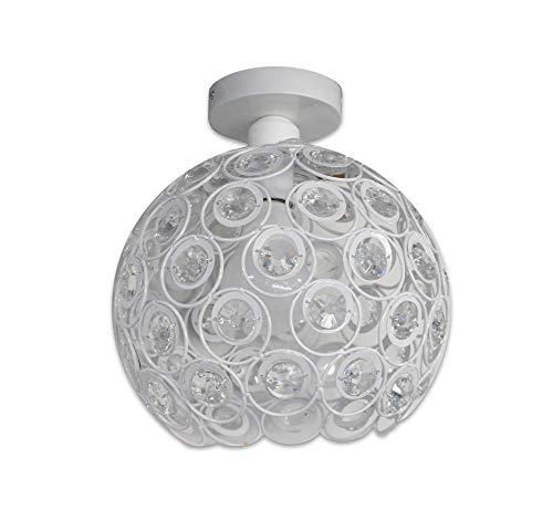 Vetrineinrete® Lampadario da soffitto plafoniera con paralume con sfere cristalli in acrilico lampada con portalampada e27 nero o bianco (Bianco) Z27