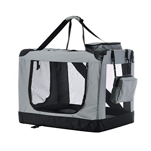 Sam´s Pet Hundetransportbox Lassie L (grau) faltbar - 50 x 70 x 52 cm - Reisebox mit Decke, Tasche & Griffen – Stoff Transportbox für Hunde