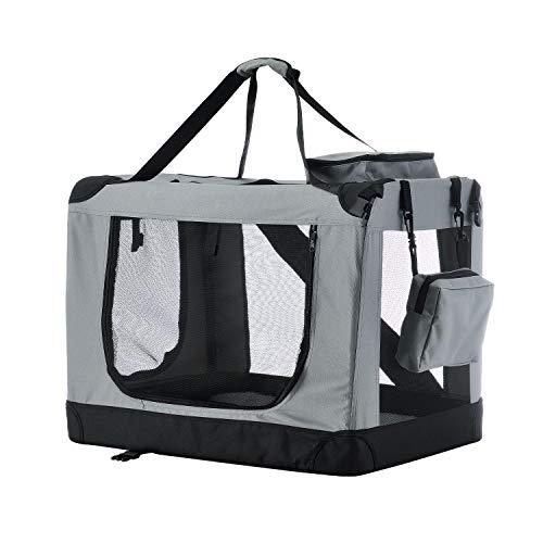 Sam´s Pet Hundetransportbox Lassie M (grau) faltbar - 42 x 60 x 44 cm - Hundebox mit Decke, Tasche & Griffen – Stoff Kleintiertasche für Hunde