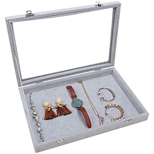 Joyero Sistema de Almacenamiento de Joyas Joyero de Terciopelo Gris Vitrina Vitrina de Cristal Vitrina de coleccionista con Tapa de Cristal con Cerradura