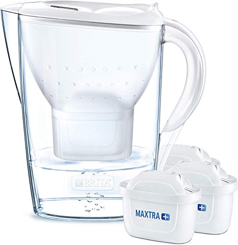 BRITA Wasserfilter Marella weiß inkl. 3 MAXTRA+ Filterkartuschen – BRITA Filter Starterpaket zur Reduzierung von Kalk, Chlor & geschmacksstörenden Stoffen im Wasser