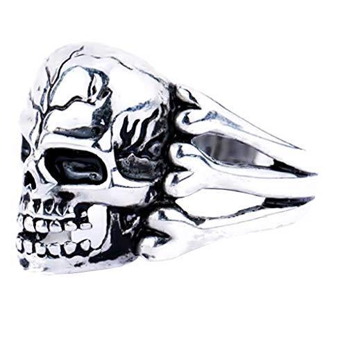 Lovelegis - Anillo de calavera para hombre - Cabeza de muerte - Punk - Dark - Color plata - Talla IT 22 - Idea regalo
