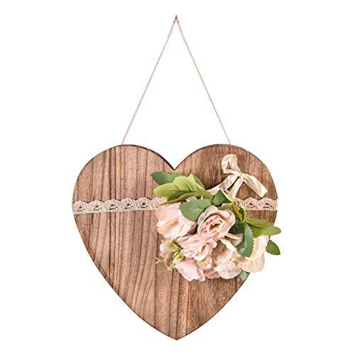 Sanfiyya Colgar de la Pared de la Guirnalda de la Flor Artificial de la decoración de corazón de Madera para Las Paredes de la Sala de Granja de Color Caqui Plate