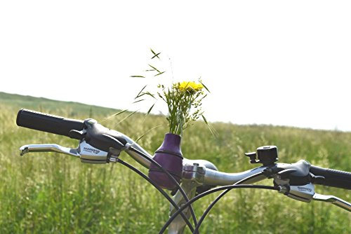 meindekoartikel Lifestyle Fahrradvase Frieda (lila) - Der Frühling kommt Fahrradlenker Blumenvase Fahrradtour H 9 cm