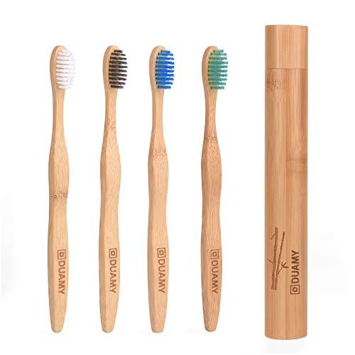 Brosses à dents en bambou et biodégradable et support/étui de voyage de Bamboo. Poils doux sans...