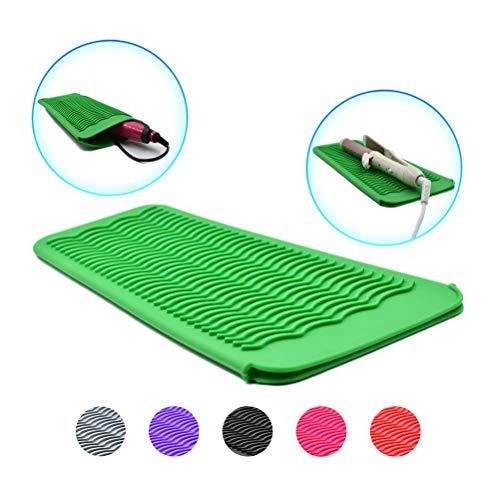 Macabolo Curling ijzeren houder, silicone hittebestendig reis-mat tas haar styling tool voor haar stijltang plat ijzer 29 * 14 * 1cm groen