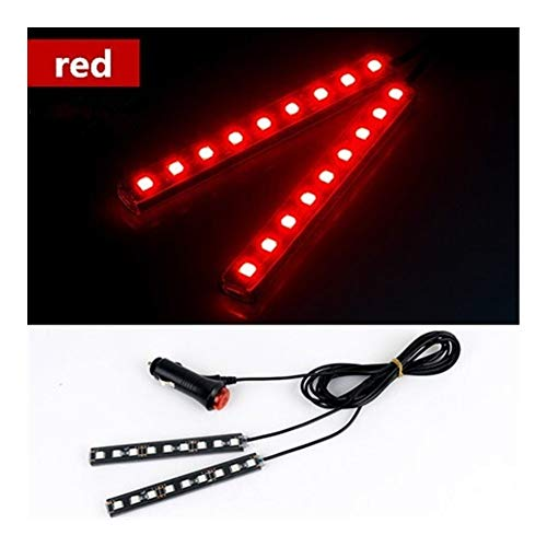 Interior del coche LED de luz decorativa Barra ambiente Pie lámpara con encendedor de cigarrillos de 12V Auto Accessorie 2 / 4pcs (Emitting Color : 2x9 led red)