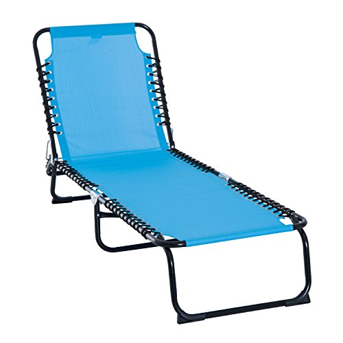 Outsunny 3-Position Reclining Beach Chair Chaise Lounge Folding Chair with Comfort Ergonomic Design,Light Blue