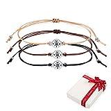 3 pièces argent boussole bracelets Cordon d'amitié kit, 3 couleurs réglable délicat textile filigrane corde bracelet cadeau...