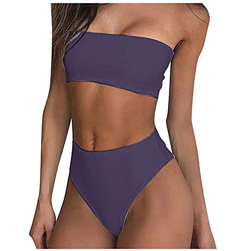 Damen Bikini Set Badeanzug Push Up Verstellbar Crossover Ties-up High Waist Bikinihose Zweiteiliger Strandbikini FüR Mä Dchen Teenager Strandkleidung Strandwear