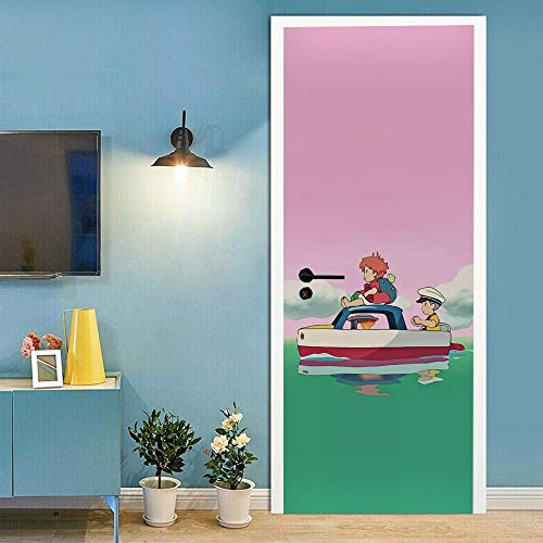 Pegatinas para puertas interiores 3D autoadhesivas, murales de pared para puerta, diseño de anime boyDIY extraíble impermeable vinilo PVC 77 x 220 cm