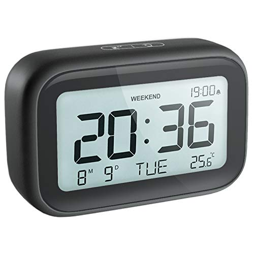 HAPTIME Digital Alarm Clock for Bedroom Travel Office - Modern Minimalist Style with LCD Display Volume Adjustable Snooze 12/24Hr and Weekend Mode, Easy Setting, 2 AAA Battery Operated (Black)