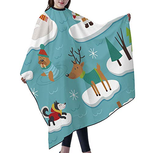 """SUPNON Waterproof Professional Salon Cape Hair Salon Cutting Cape Barber Hairdressing Cape - 55"""" x 66"""" - Seamless Pattern With Eskimos And Arctic Animals On Ice Floes, IS044600"""