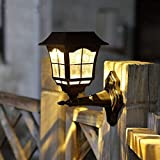 Maggift 2 Pack Solar Wall Lantern Outdoor Christmas 15 Lumens Solar Lights Wall Sconce Solar Outdoor Led Light Fixture with Wall Mount Kit