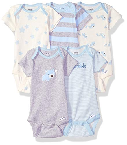 Gerber Baby Boys Organic 5-Pack Short-Sleeve Onesies Bodysuits, Stripe Bear, 3-6 Months