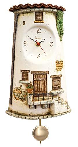 ARTEPACO Orologio da Parete Pendolo, in Ceramica, Design, Dipinto a Mano, Forma tegola.
