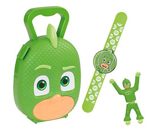 Jamara 410106 PJ Masks Gekko - Juego de 3 Pulseras para Pijama (lanzar Gekko a la Pared y observar cómo Escala, maletín de Transporte Estable y manejable), Color Verde