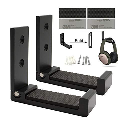MeetRade Faltbare Wandhalterung, Kopfhörer-Halterung, Headset, Wandhalterung, Aluminium, für bis zu 1 kg, mit 3M-Klebeband, 20 kg mit Schrauben, mit weichem Schutzpolster, 2 Stück