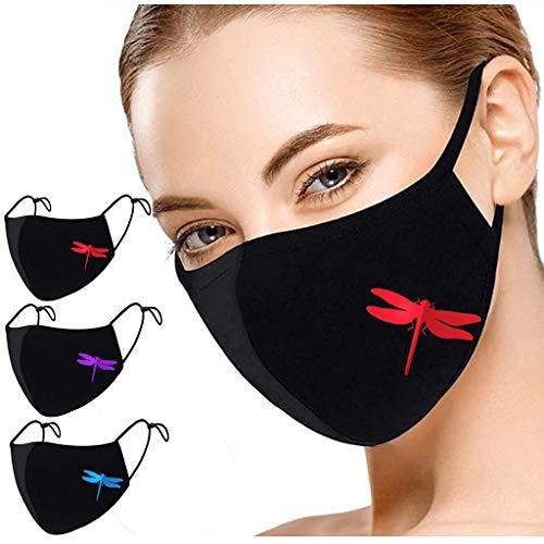 3 Stück Mundschutz Waschbar mit Motiv,Mundbedeckung Stoff Wiederverwendbare mundschutz für Erwachsene Anti-Staub mundschutz Freien reiten Sonnenschutz mundschutz
