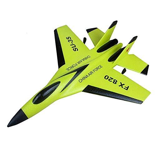 Llpeng Resistencia a la caída de Gran tamaño Fijo Canales ala Delta Vuelo 2.4G Tres Aviones de Combate batería de Larga duración de Carga Ensamble Modelo de Juguete (Color: Amarillo) (Color : Green)