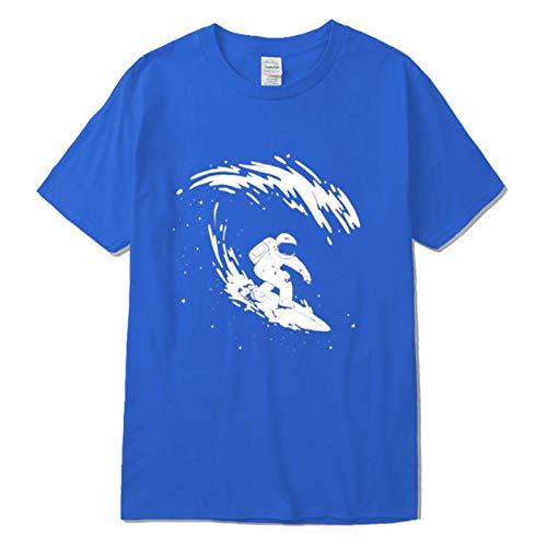 T-Shirt Herren Kurzarm Hochwertiger Baumwoll-O-Ausschnitt Spaß beim Surfen Astronaut Atmungsaktiver Druck lässig lose Geschenk-XXL
