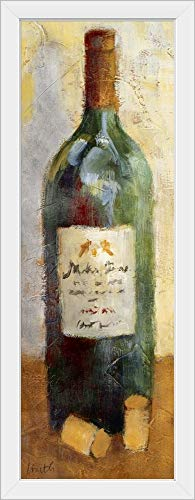 CANVAS ON DEMAND Red Wine and Cork White Framed Art Print 15x39x1
