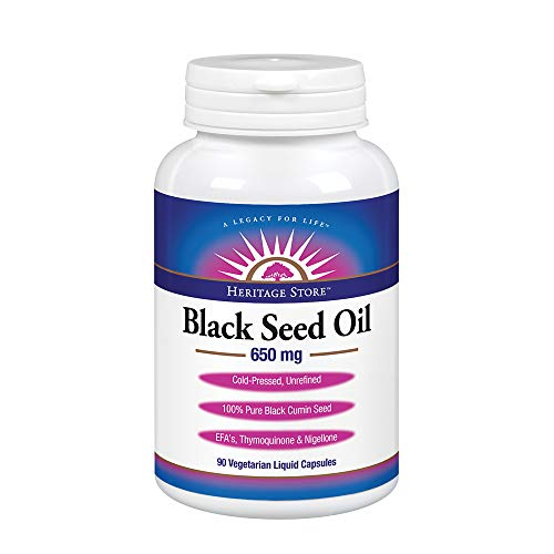 Heritage Store Black Seed Oil | 100% Pure Virgin, Cold Pressed, Unrefined | Supports Skin, Immunity Function & More | 650 mg Vegetarian Capsules, 90ct