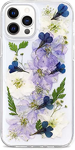 Abbery Designed for iPhone 12 Pro Max Flower Case, Clear Soft TPU Flexible Rubber Pressed Dried Real Flowers Case Compatible for iPhone 12 Pro Max 6.7'(Navy Flower)
