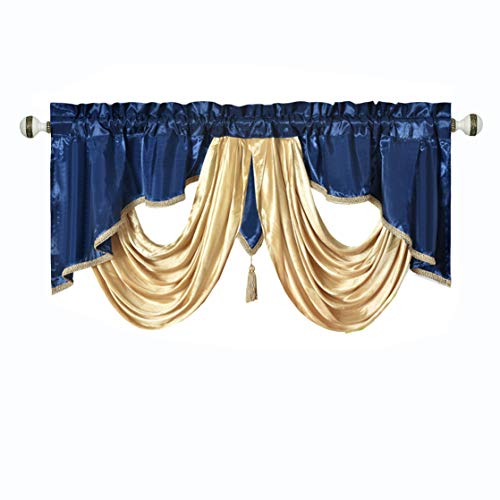 Valarie Fancy Window Valance. 54 x 18 inches. Taffeta Fabric with Soft Satin Swag. Add Some Royal luxruy Accent to Your Home. (Nightsky Blue)