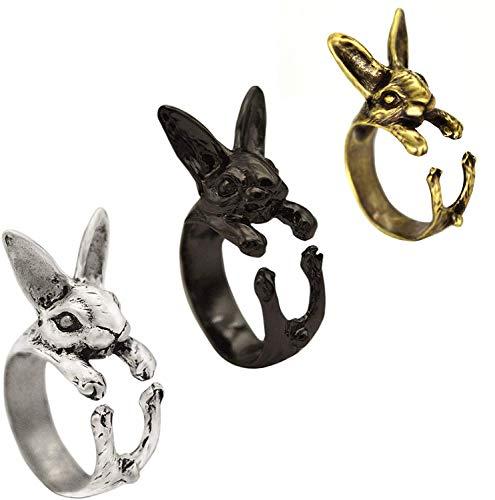 3 Pcs Women Adjustable Vintage Hippie Chic Handmade Rabbit Bunny Knuckles Rings Gift, Bunny Animal Knuckles Rings