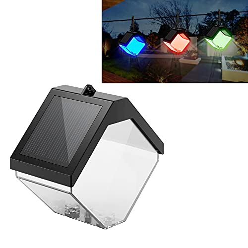 Solar Deck Lights Outdoor, 2 Modes Warm White/Color Changing IP55 Waterproof Garden Decorative LED Light for Fence, Patio, Front Door, Stair, Landscape, Yard and Driveway Path (1 Pack)