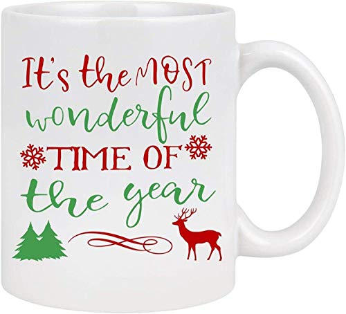 Christmas coffee cup, this is the most wonderful time of the year. Funny coffee cup deer snowflake Christmas tree holiday decora