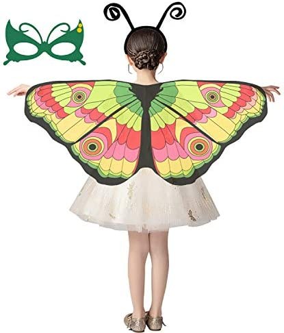 Cuteshower Kids Butterfly Wings Butterfly Costume Halloween Dress Up Outfits with Mask Antenna product image