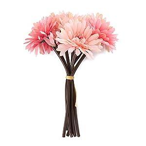 """Silk Flower Arrangements Saideke Home Artificial 11"""" Tall Pink Gerbera Daisy Flower Bouquet Home Wedding Decoration"""