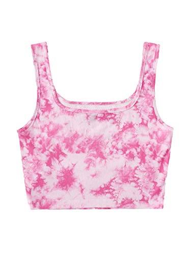 Verdusa Women's Casual Sleeveless Tie Dye Rib Knit Crop Tank Top Hot Pink M