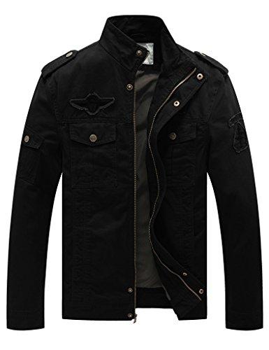 WenVen Chaqueta Casual Entretiempo Negro Vestir para Hombre Large