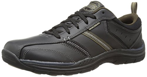 Skechers USA Men's Expected Devention Oxford,Black/Tan,10 M US